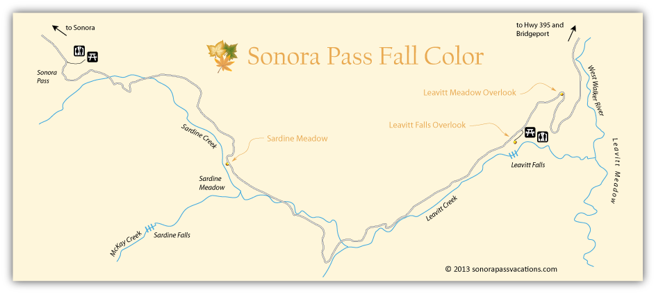 map of east side of Sonora Pass showing best places for viewing fall colors.