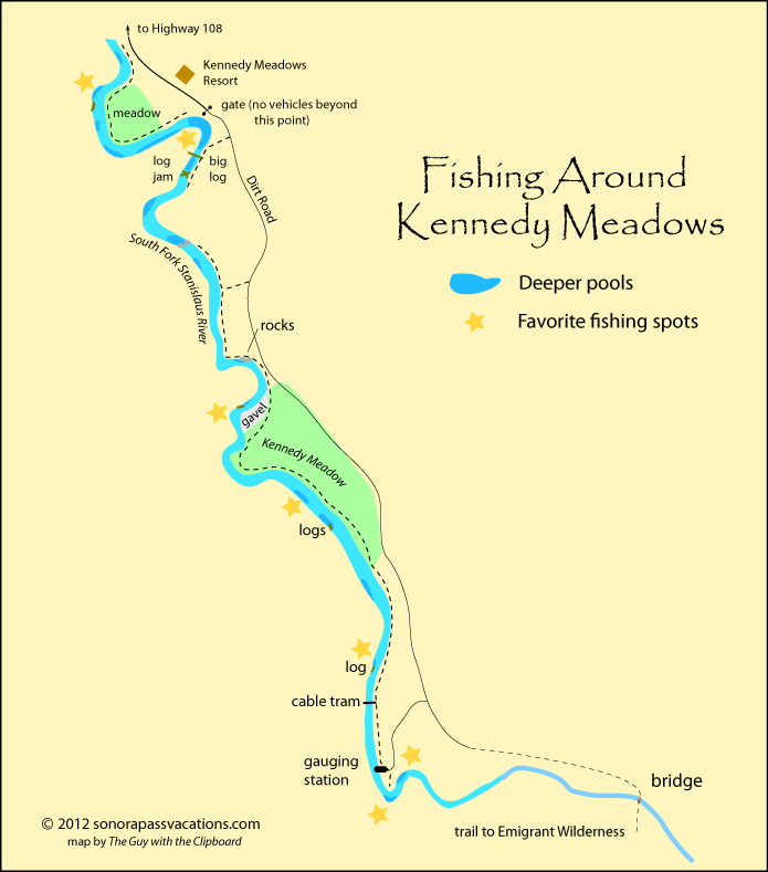 fishing map of Stanislaus River at Kennedy Meadows, California