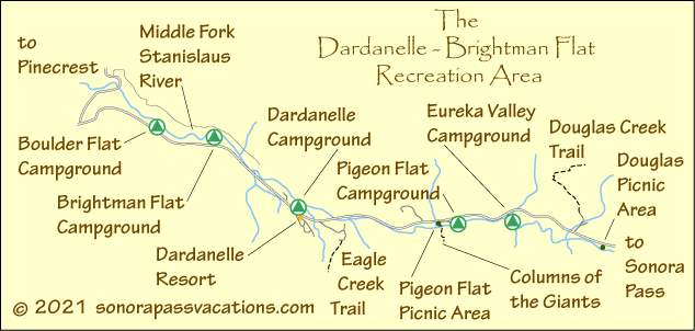map of Dardanelle Area campgrounds