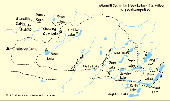 map of hike to Deer Lake