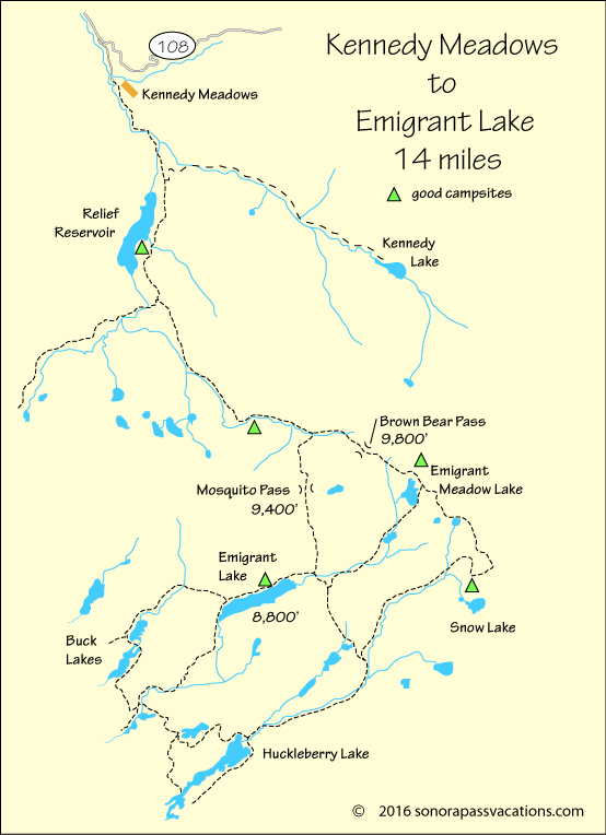 map of hike to Emigrant Lake