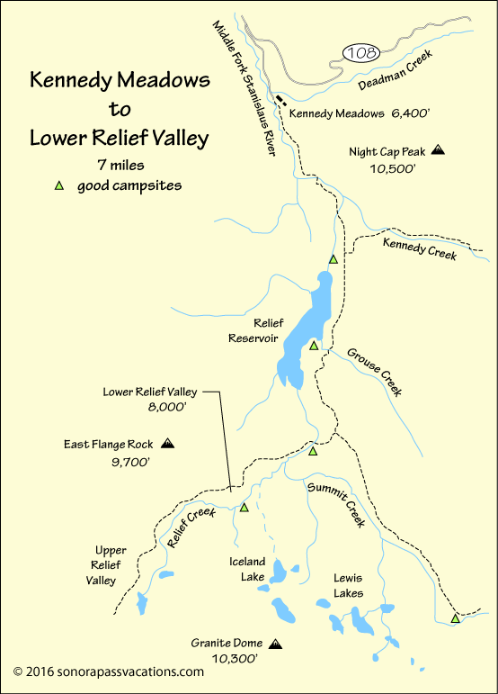 map of hike to Lower Relief