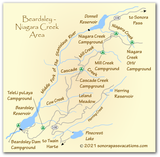 map of Niagara Creek area camping