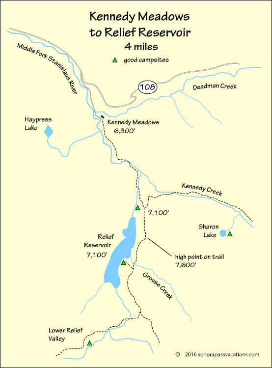 map of hike to Relief Reservoir