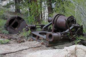 Photo of rusty machinery used in the construction of the historic Relief Reservoir dam