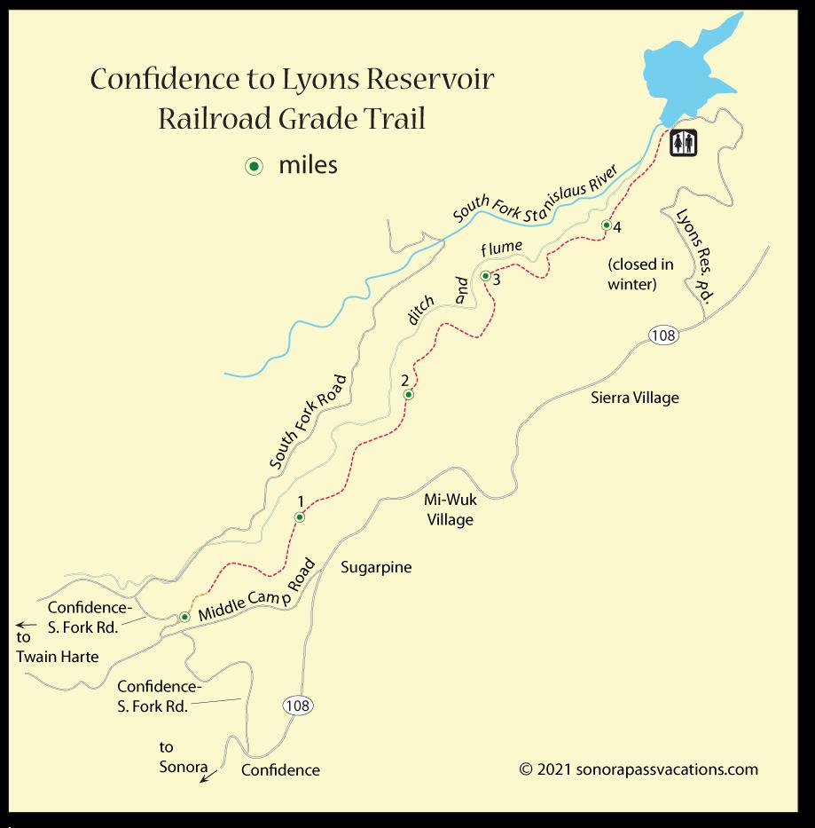 Twain Harte - Lyons Reservoir Railroad Grade Trail Map on